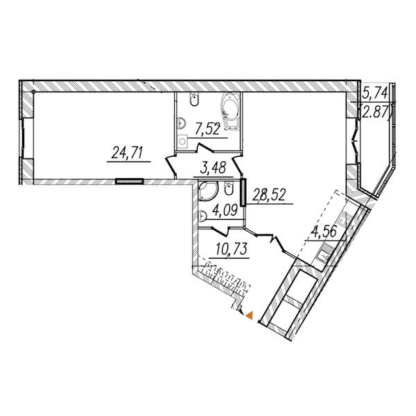 1-комнатная 87 м<sup>2</sup> на 10 этаже