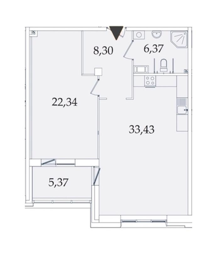 1-комнатная 76 м<sup>2</sup> на 3 этаже