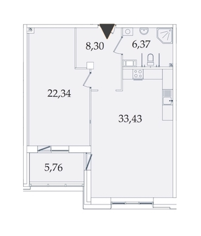 1-комнатная 76 м<sup>2</sup> на 4 этаже