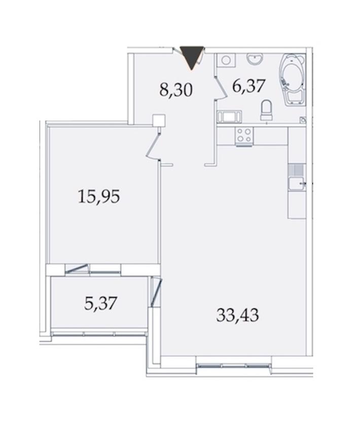 1-комнатная 69 м<sup>2</sup> на 7 этаже