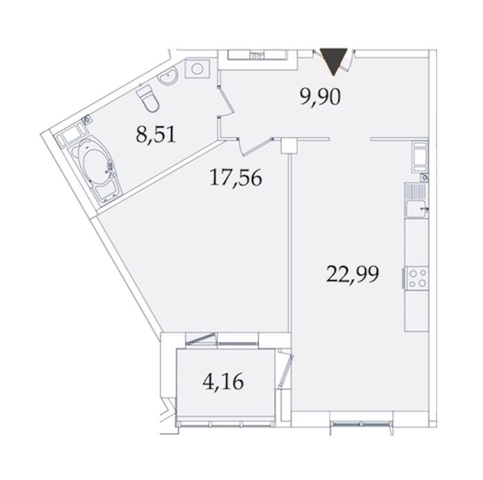 1-комнатная 63 м<sup>2</sup> на 2 этаже