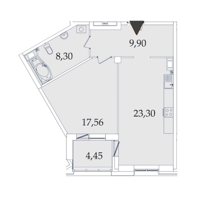1-комнатная 63 м<sup>2</sup> на 4 этаже
