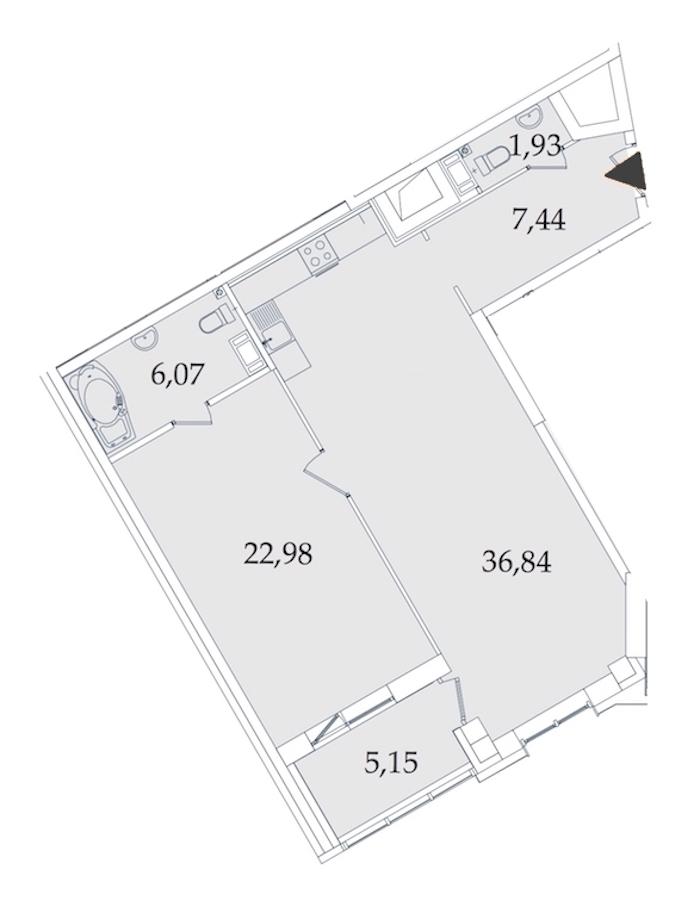 1-комнатная 80 м<sup>2</sup> на 2 этаже