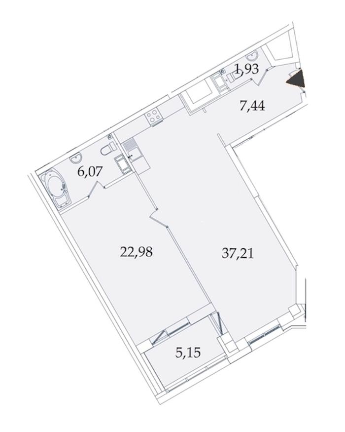1-комнатная 80 м<sup>2</sup> на 3 этаже