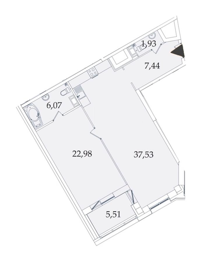 1-комнатная 81 м<sup>2</sup> на 5 этаже