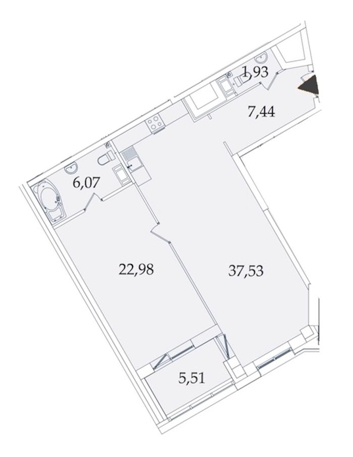 1-комнатная 80 м<sup>2</sup> на 6 этаже