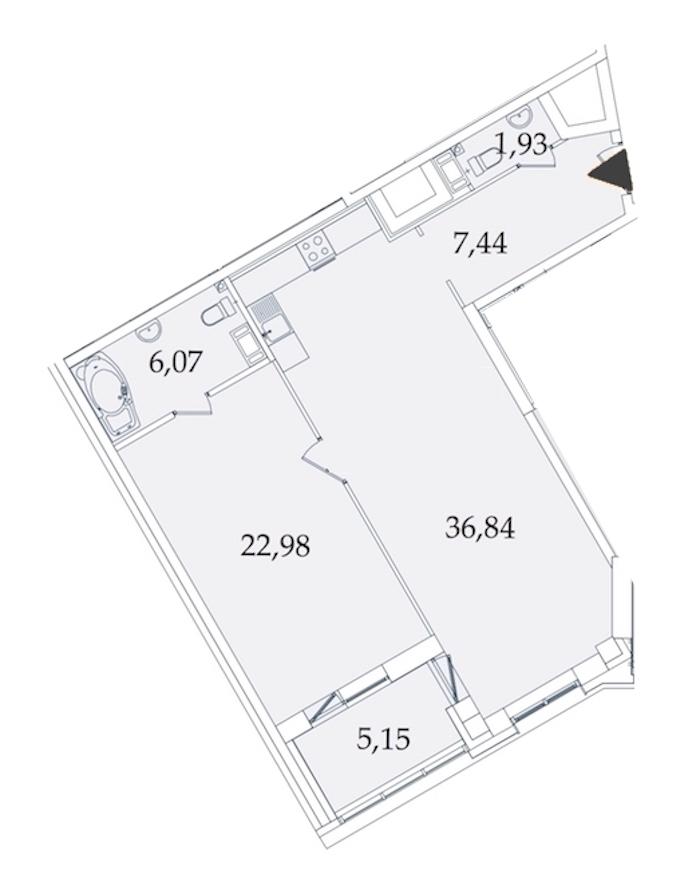 1-комнатная 81 м<sup>2</sup> на 7 этаже