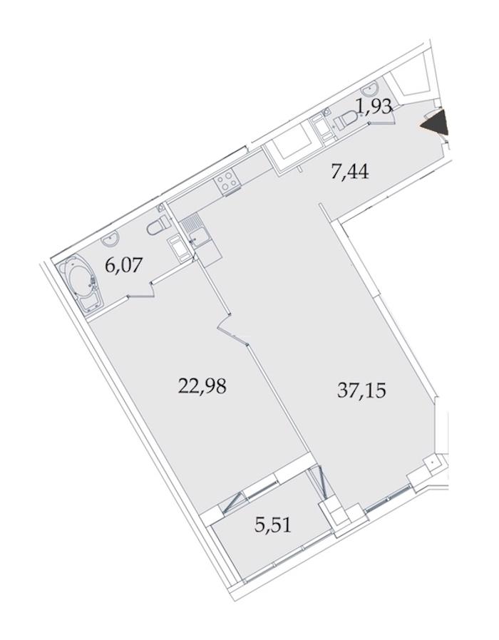 1-комнатная 81 м<sup>2</sup> на 8 этаже