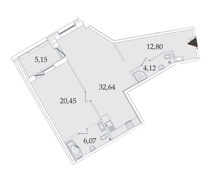 1-комнатная 81 м<sup>2</sup> на 3 этаже
