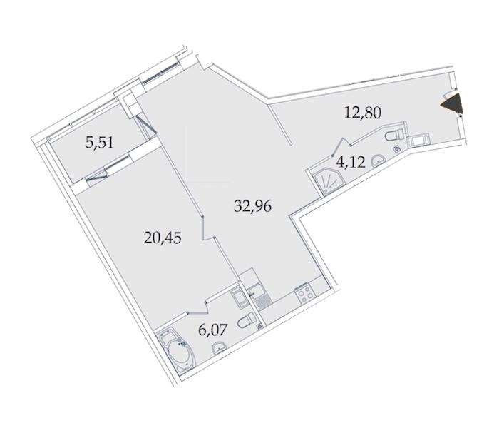 1-комнатная 82 м<sup>2</sup> на 4 этаже
