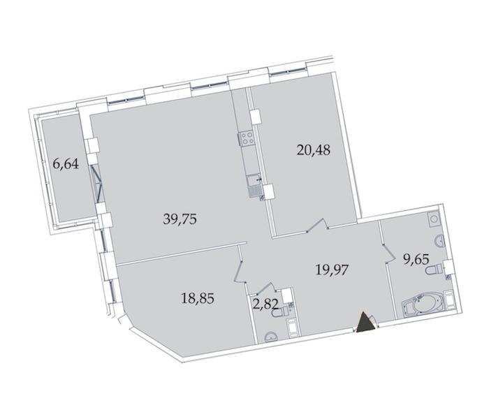 2-комнатная 118 м<sup>2</sup> на 3 этаже
