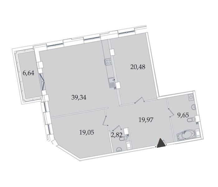 2-комнатная 118 м<sup>2</sup> на 6 этаже