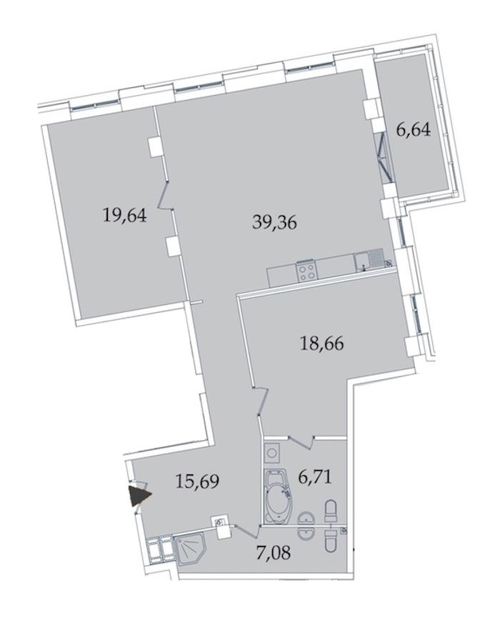 2-комнатная 115 м<sup>2</sup> на 3 этаже