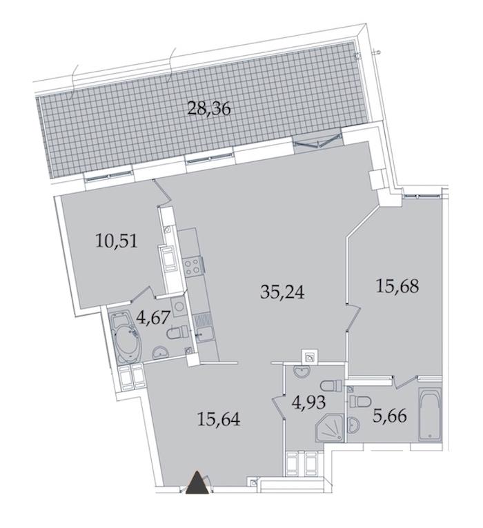 2-комнатная 120 м<sup>2</sup> на 8 этаже