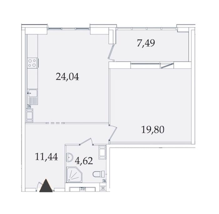 1-комнатная 66 м<sup>2</sup> на 2 этаже