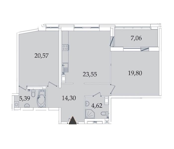 2-комнатная 95 м<sup>2</sup> на 3 этаже