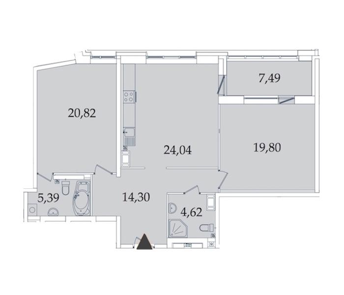 2-комнатная 95 м<sup>2</sup> на 6 этаже