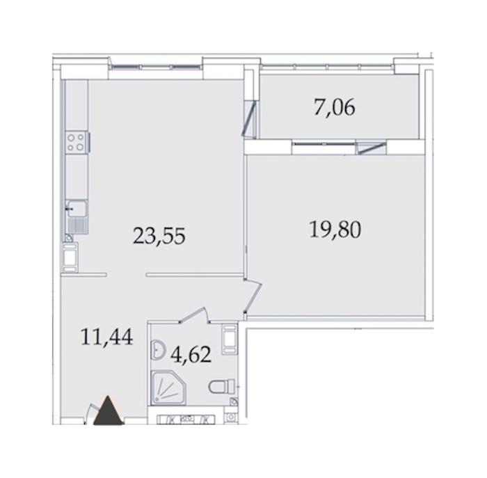 1-комнатная 67 м<sup>2</sup> на 7 этаже