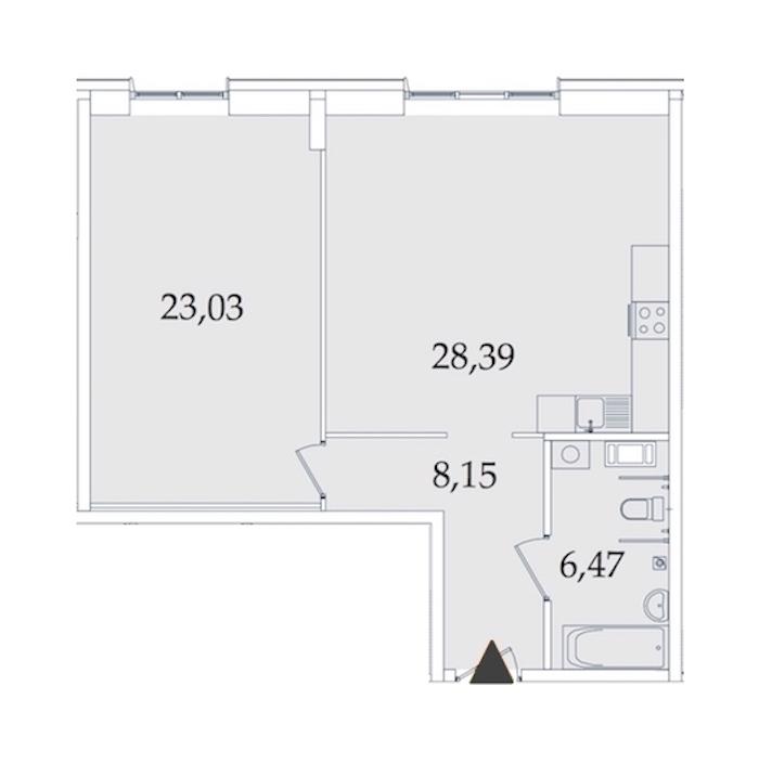 1-комнатная 65 м<sup>2</sup> на 2 этаже
