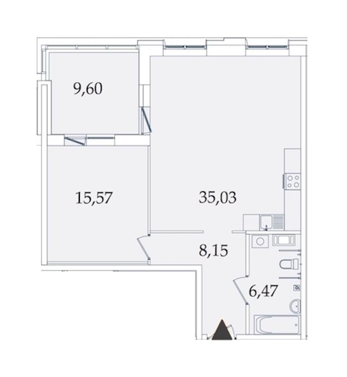 1-комнатная 75 м<sup>2</sup> на 6 этаже