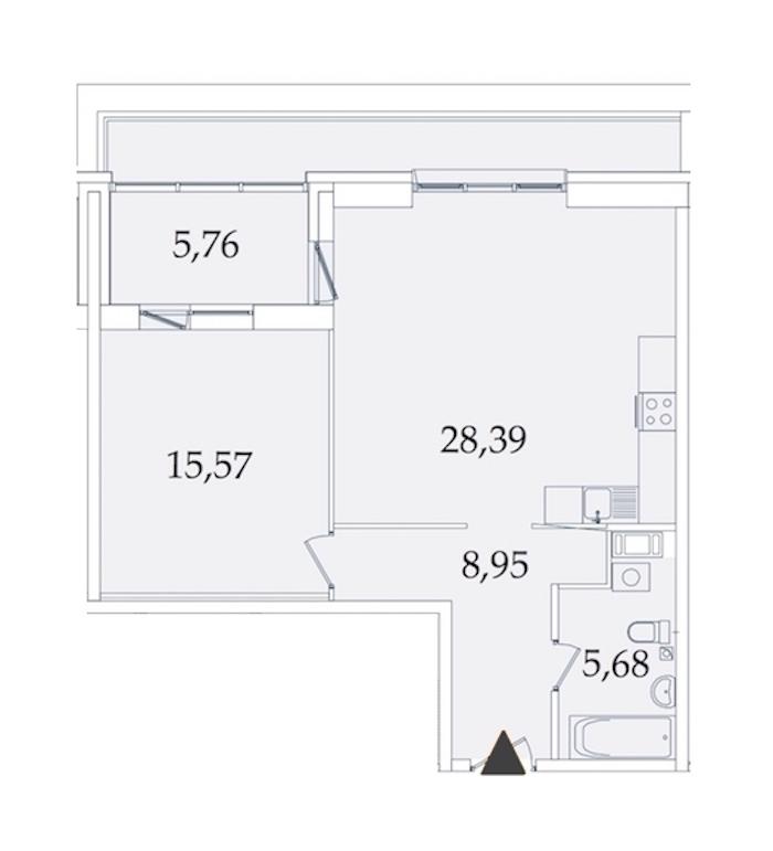 1-комнатная 64 м<sup>2</sup> на 8 этаже