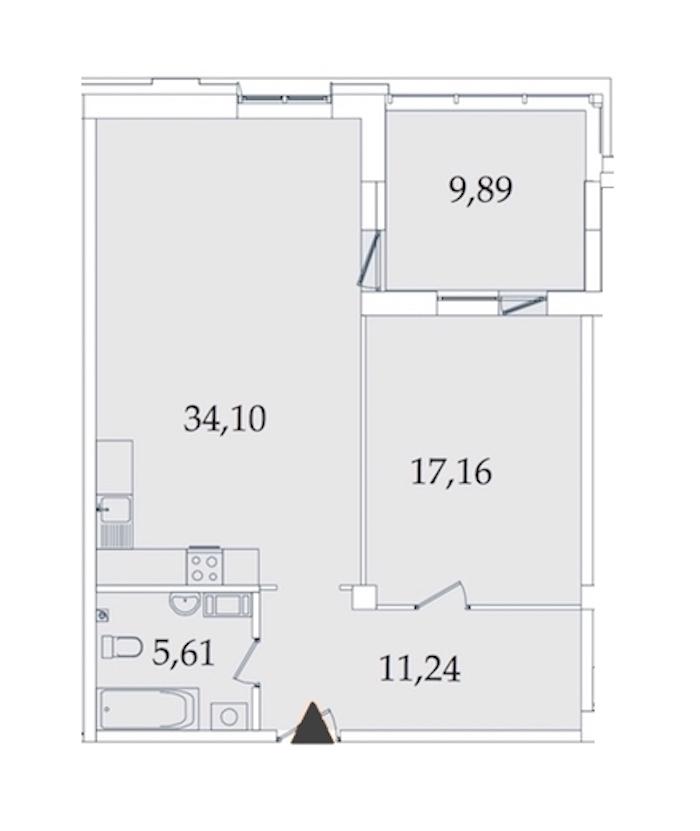 1-комнатная 77 м<sup>2</sup> на 4 этаже