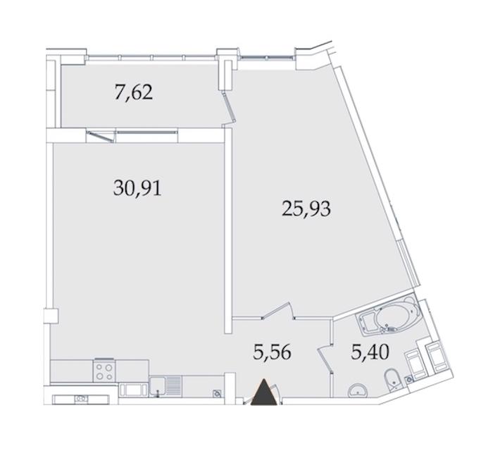 1-комнатная 75 м<sup>2</sup> на 2 этаже