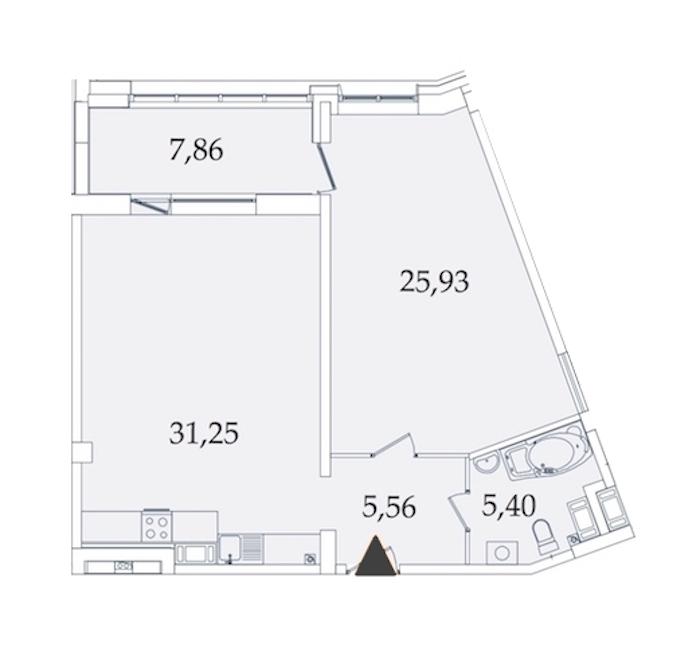 1-комнатная 75 м<sup>2</sup> на 4 этаже