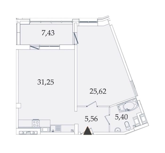 1-комнатная 75 м<sup>2</sup> на 7 этаже