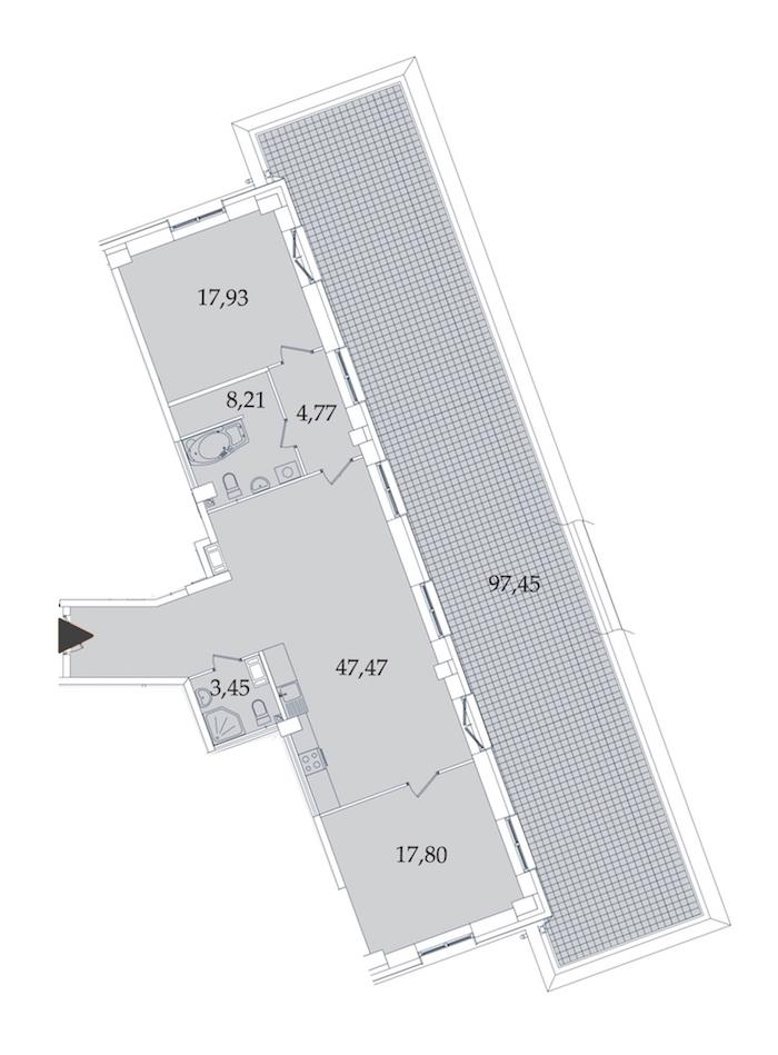 2-комнатная 197 м<sup>2</sup> на 7 этаже