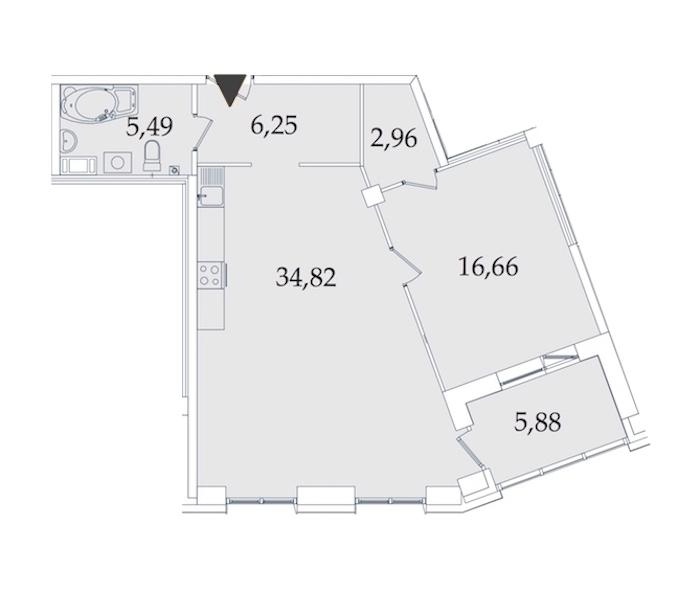 1-комнатная 71 м<sup>2</sup> на 2 этаже