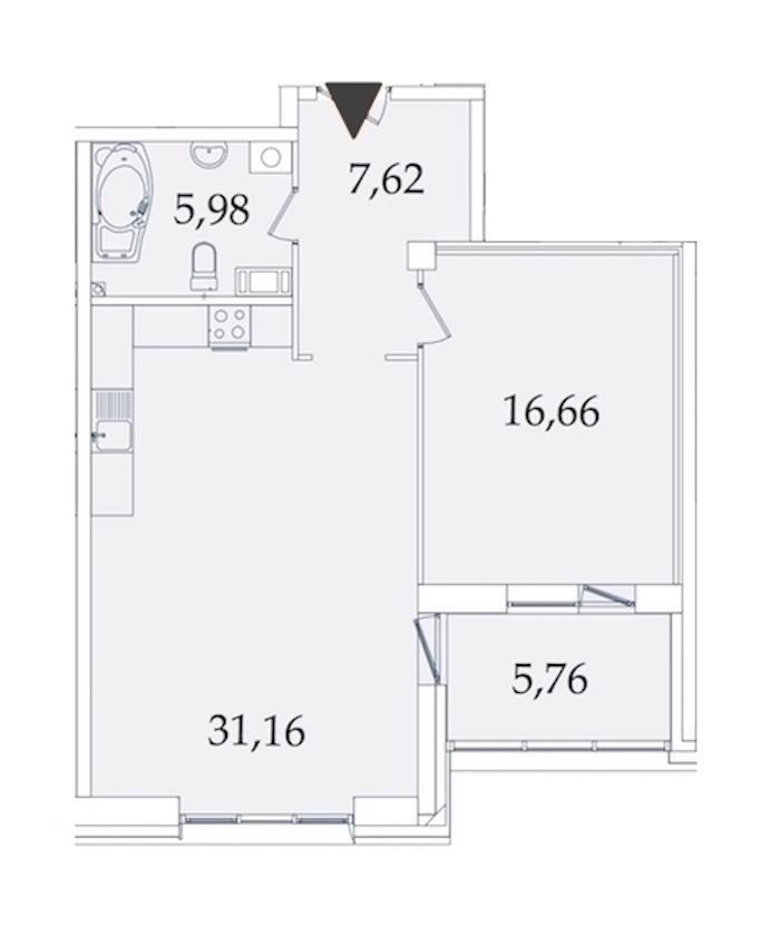 1-комнатная 66 м<sup>2</sup> на 8 этаже