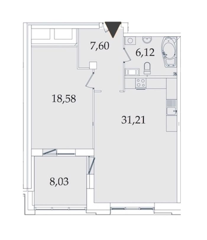 1-комнатная 71 м<sup>2</sup> на 3 этаже