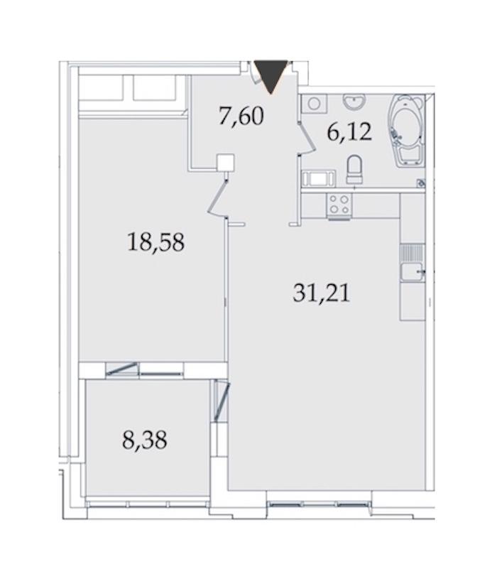 1-комнатная 71 м<sup>2</sup> на 4 этаже