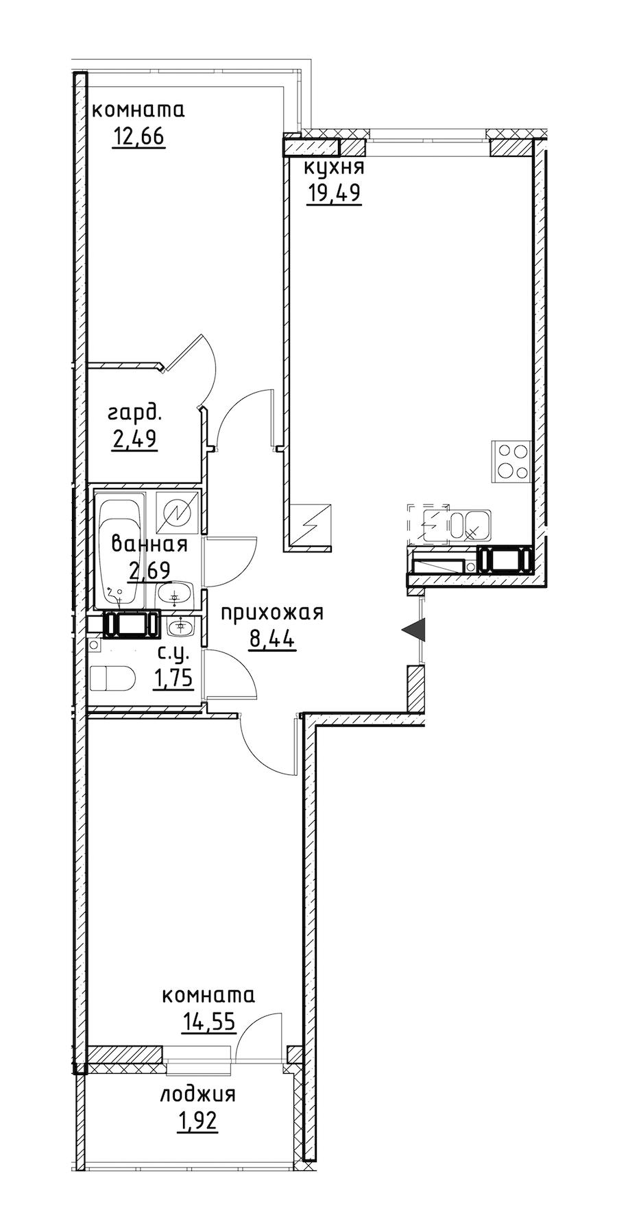 2-комнатная 63 м<sup>2</sup> на 9 этаже