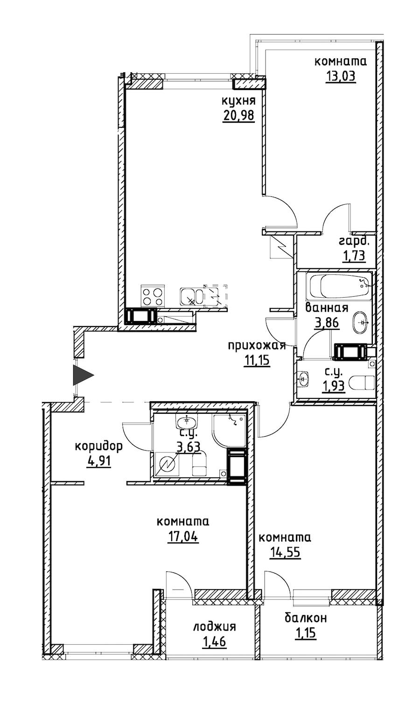 3-комнатная 95 м<sup>2</sup> на 12 этаже