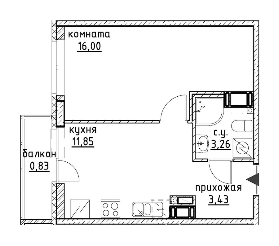 1-комнатная 35 м<sup>2</sup> на 6 этаже