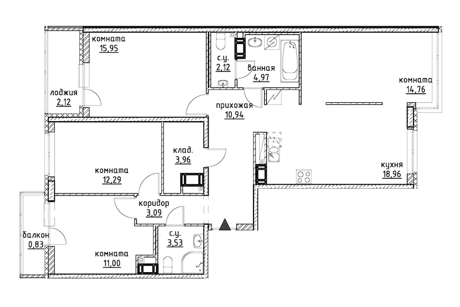4-комнатная 104 м<sup>2</sup> на 12 этаже