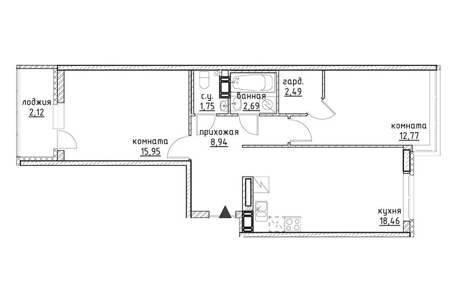 2-комнатная 65 м<sup>2</sup> на 10 этаже