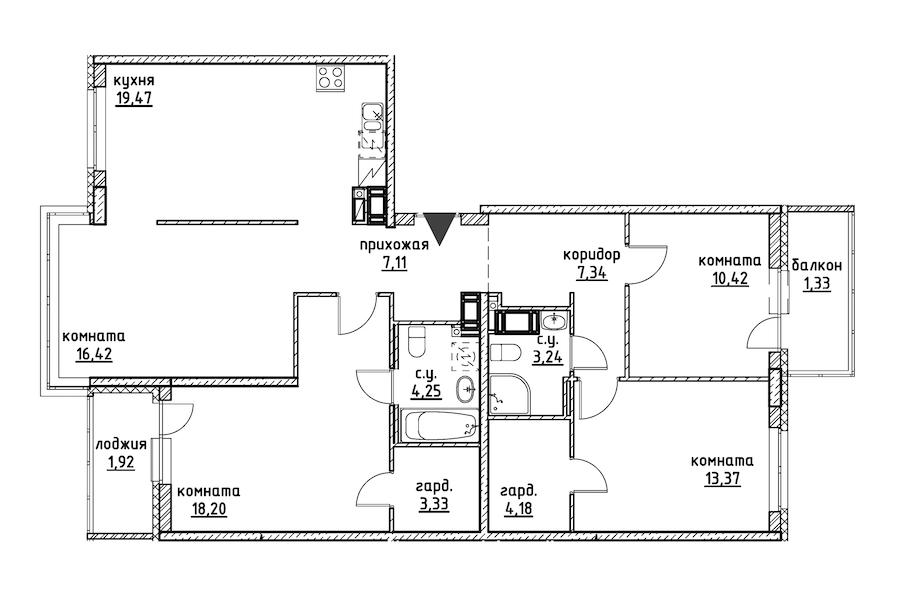 4-комнатная 110 м<sup>2</sup> на 12 этаже