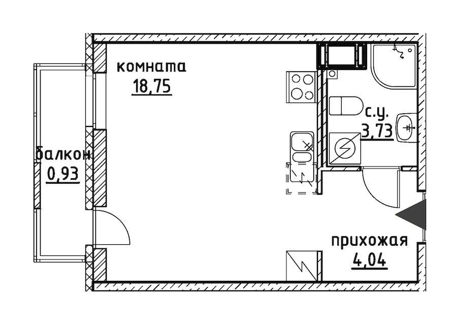 Студия 27 м<sup>2</sup> на 6 этаже