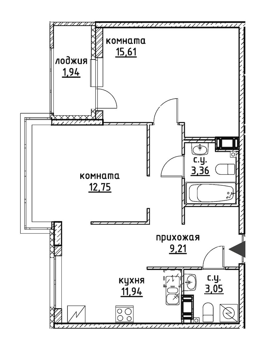 2-комнатная 57 м<sup>2</sup> на 8 этаже