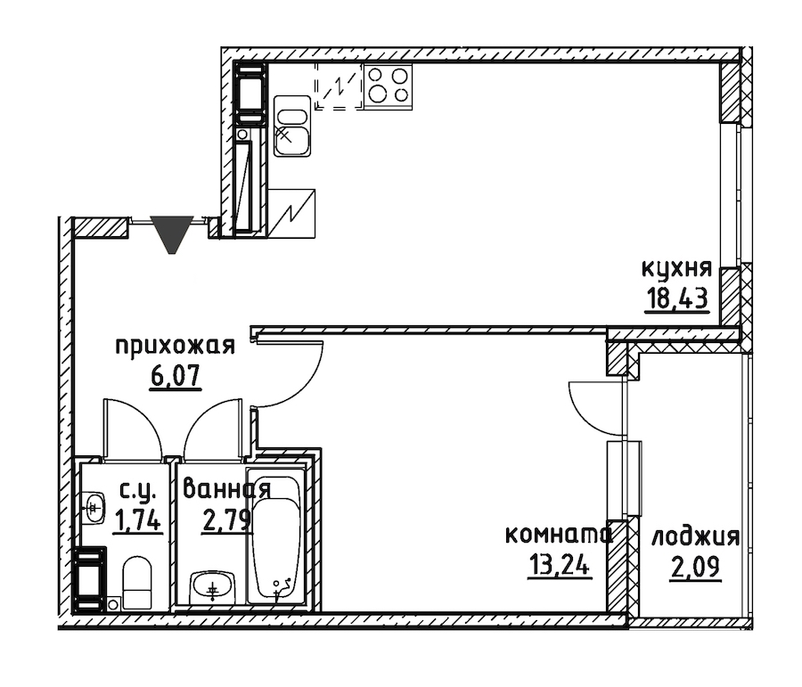 1-комнатная 44 м<sup>2</sup> на 4 этаже