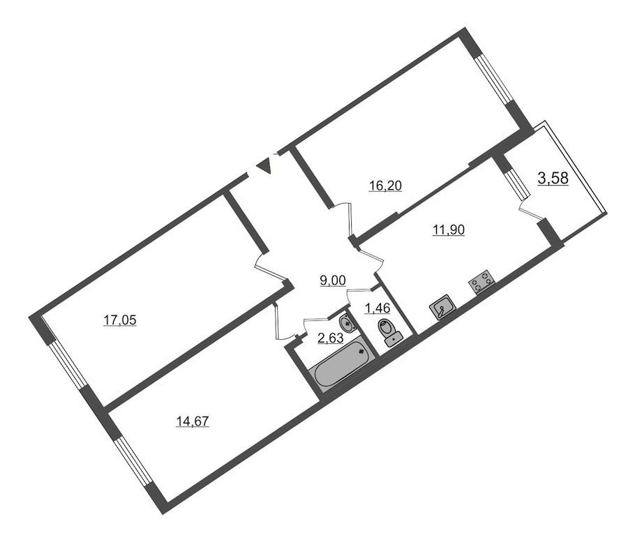 3-комнатная 74 м<sup>2</sup> на 1 этаже