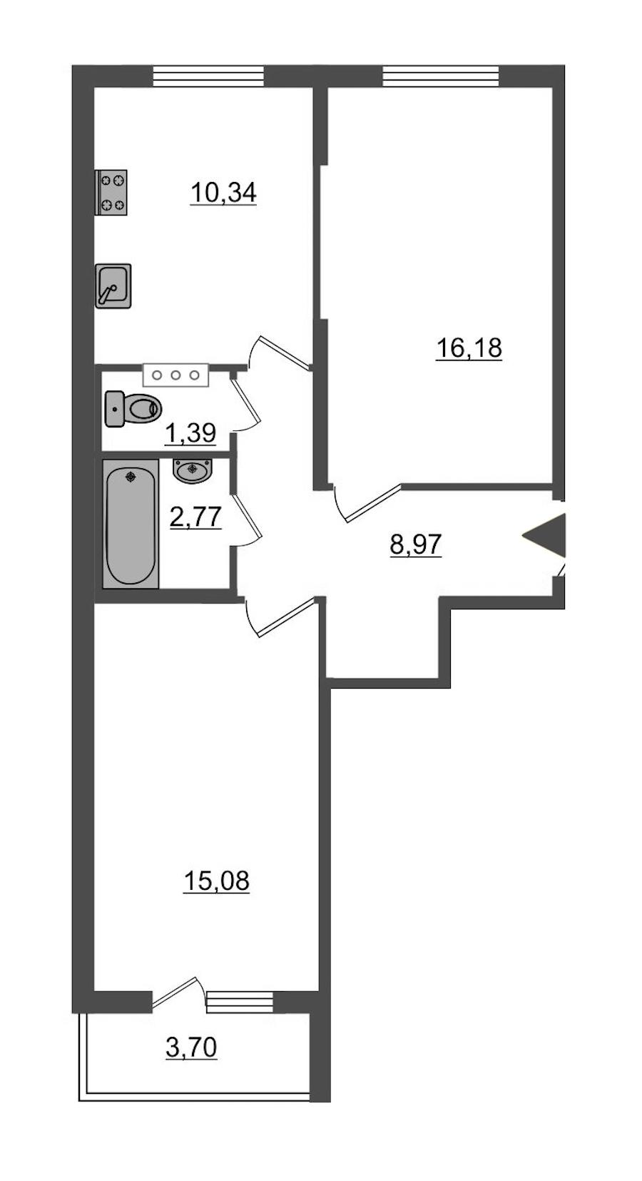2-комнатная 56 м<sup>2</sup> на 5 этаже