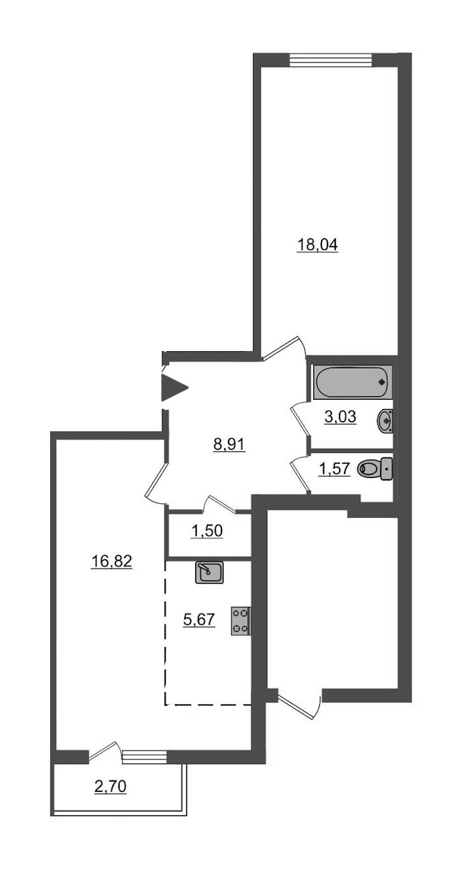 1-комнатная 56 м<sup>2</sup> на 1 этаже