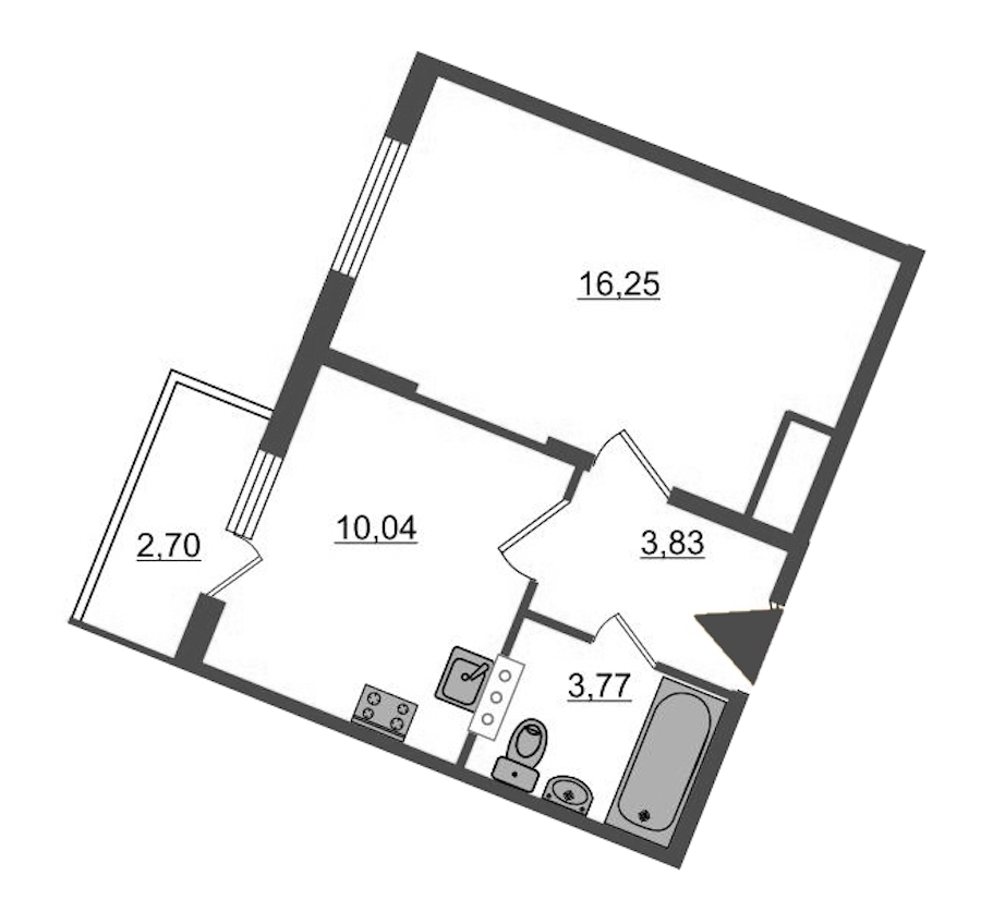 1-комнатная 34 м<sup>2</sup> на 5 этаже