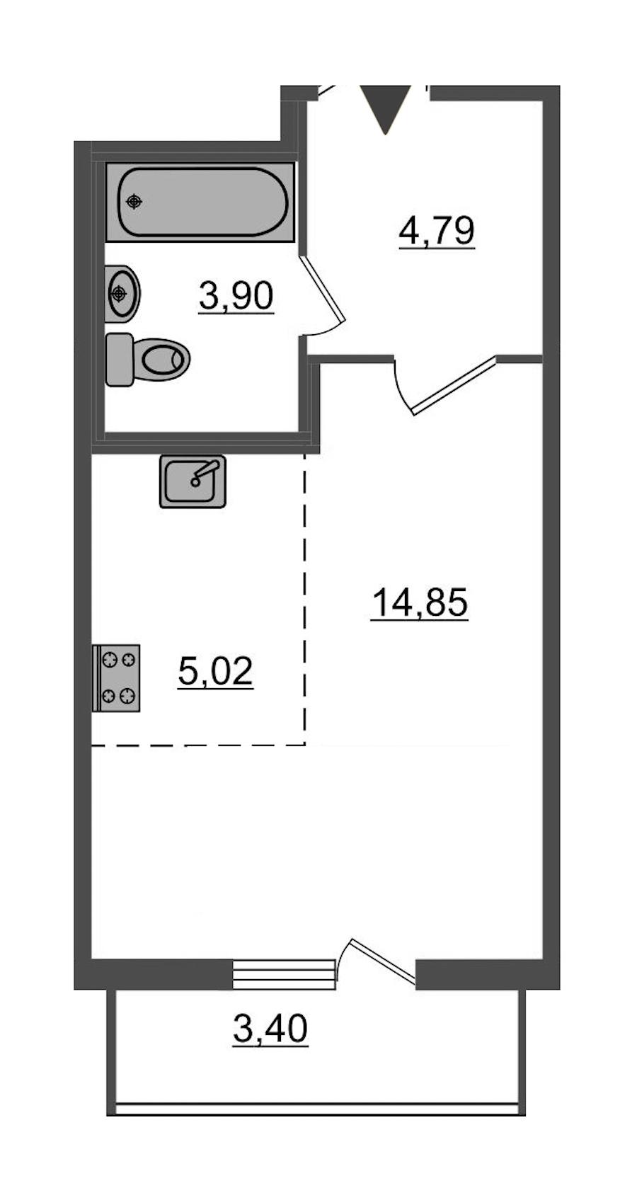 Студия 29 м<sup>2</sup> на 2 этаже