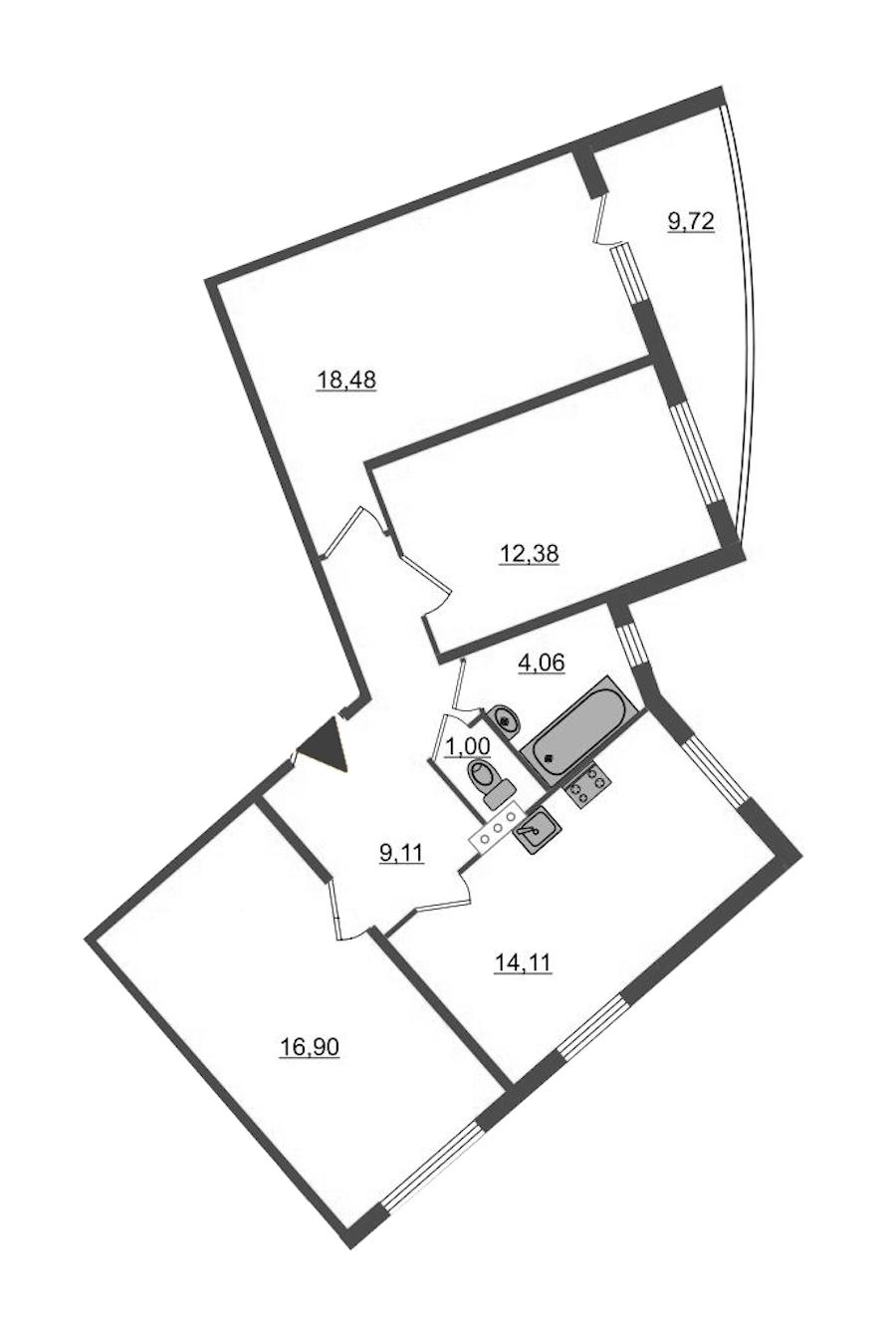 3-комнатная 80 м<sup>2</sup> на 4 этаже