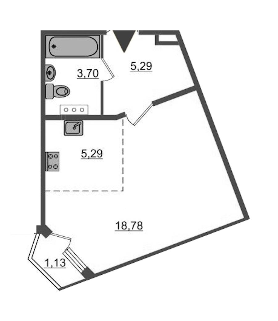 Студия 33 м<sup>2</sup> на 4 этаже